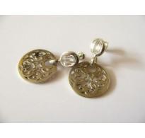 Silver earrings with white zircon
